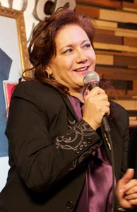 Janie L. Hendrix speaks to the audience during the Hard Rock Jimi Hendrix Signature Series 29 Launch