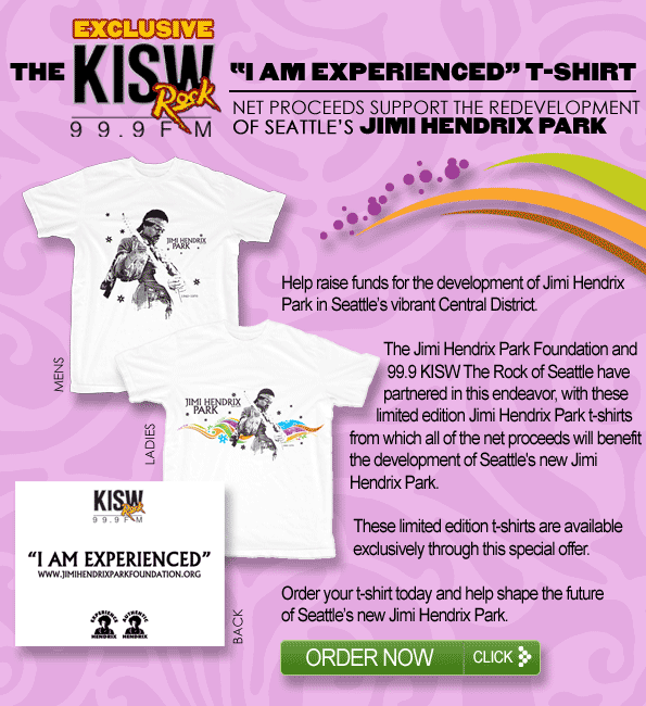 99.9 KISW The Rock of Seattle have partnered with the Jimi Hendrix Park Foundation in fund-raising effort